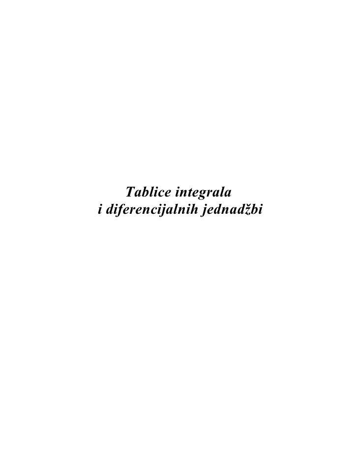 Tablice integrala i diferencijalnih jednadžbi