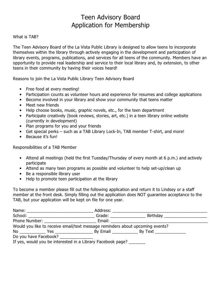TAB Membership Application & Rules Form Examples