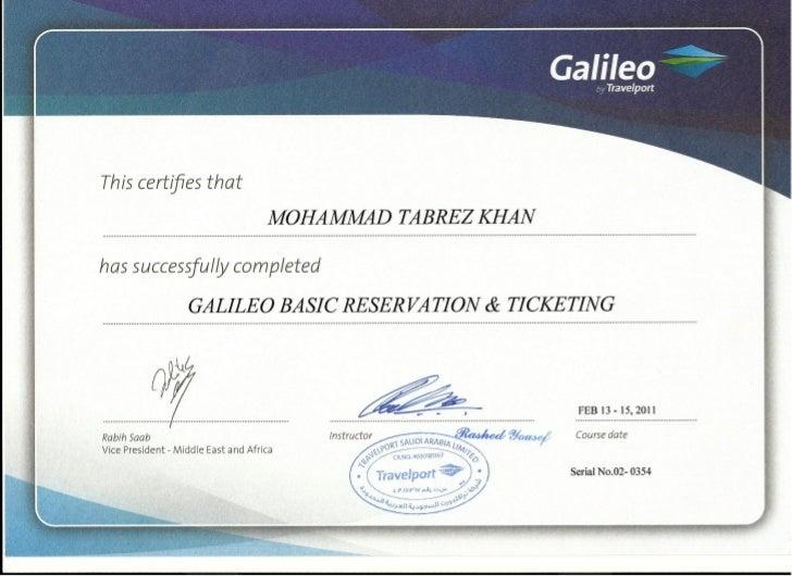 Tabrez galileo certificate