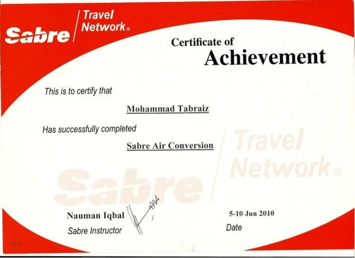 Tabrez sabre certificate
