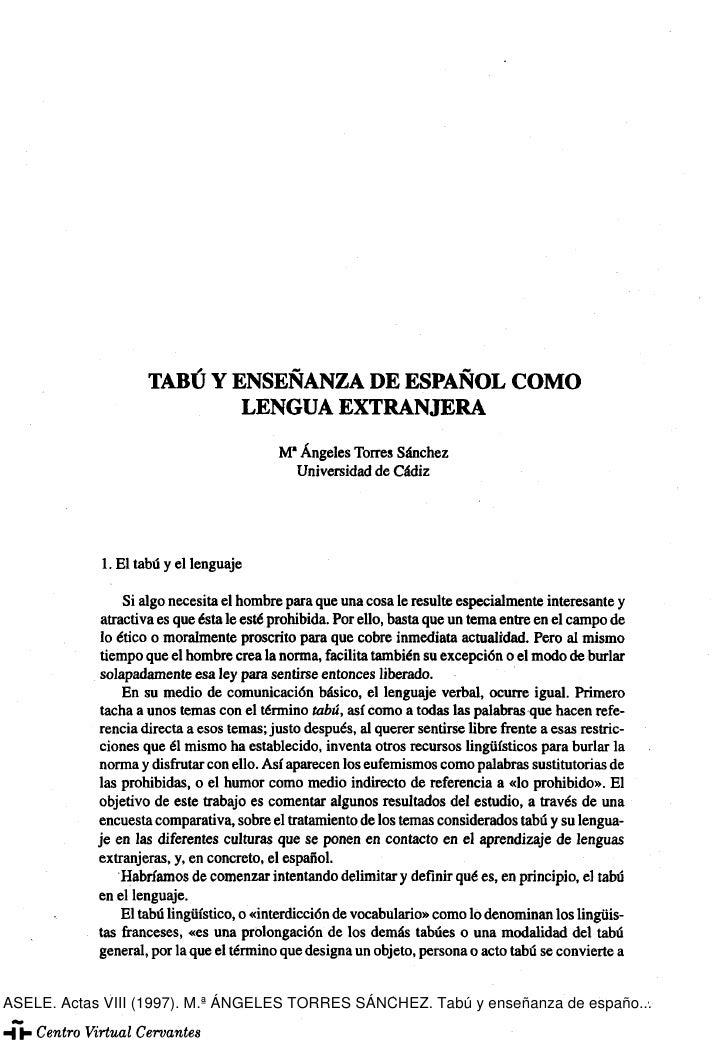 TABÚ Y ENSEÑANZA DE ESPAÑOL COMO                            LENGUA EXTRANJERA                                           M*...