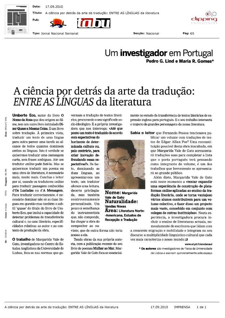 """""""A ciência por detrás da arte da tradução: entre as línguas da literatura""""  (Tabu, 17-09-2010)"""