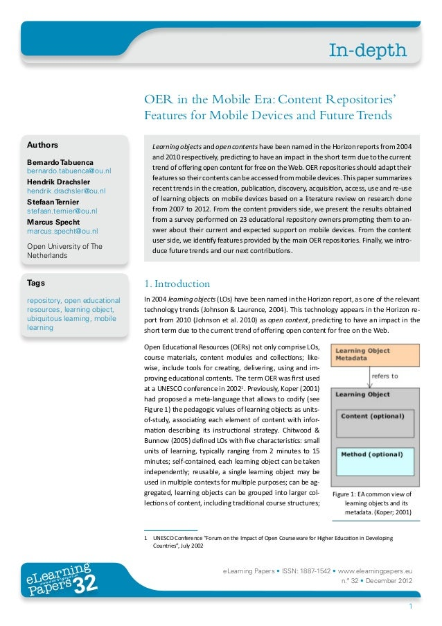 OER in the Mobile Era: Content Repositories' Features for Mobile Devices and Future Trends