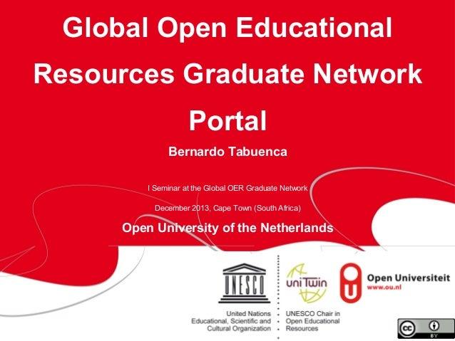 Global Open Educational Resources Graduate Network Portal Bernardo Tabuenca I Seminar at the Global OER Graduate Network D...