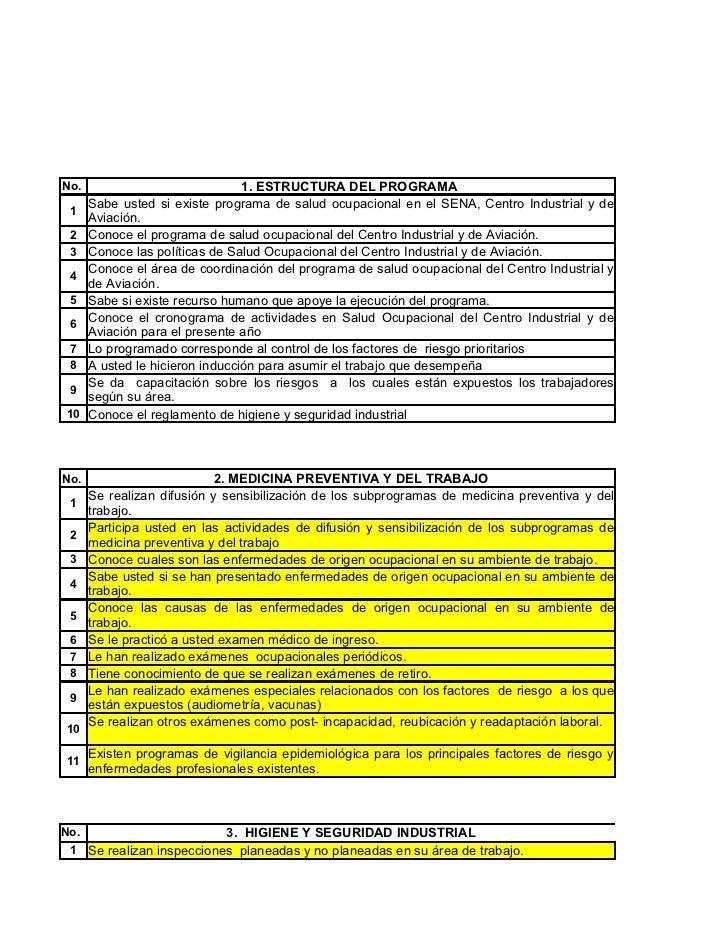 No.                              1. ESTRUCTURA DEL PROGRAMA      Sabe usted si existe programa de salud ocupacional en el ...