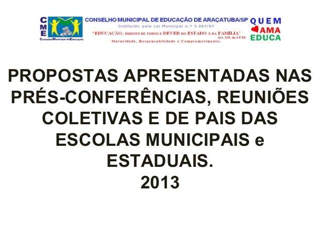 PROPOSTAS APRESENTADAS NAS PRÉS-CONFERÊNCIAS, REUNIÕES COLETIVAS E DE PAIS DAS ESCOLAS MUNICIPAIS e ESTADUAIS. 2013