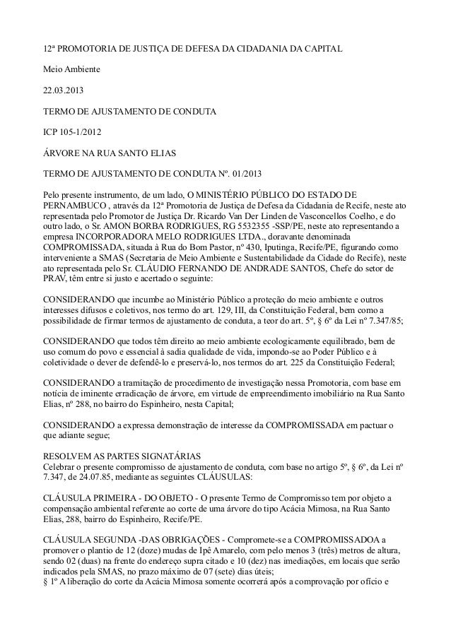 12ª PROMOTORIA DE JUSTIÇA DE DEFESA DA CIDADANIA DA CAPITAL Meio Ambiente 22.03.2013 TERMO DE AJUSTAMENTO DE CONDUTA ICP 1...