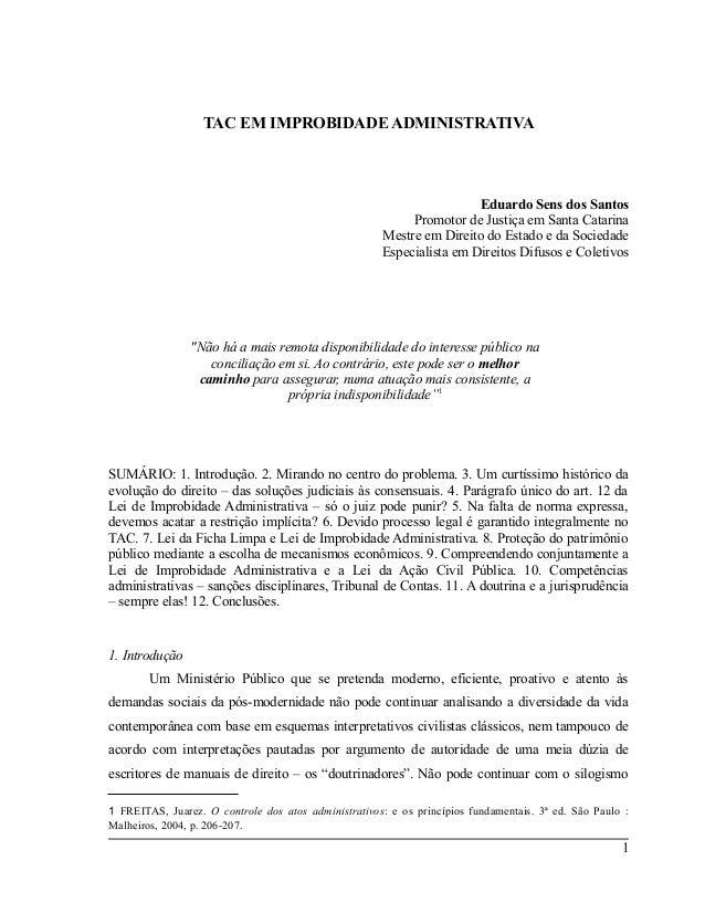 TAC EM IMPROBIDADE ADMINISTRATIVA                                                                       Eduardo Sens dos S...