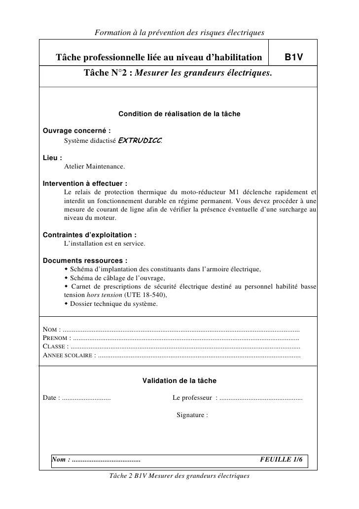 Formation à la prévention des risques électriques        Tâche professionnelle liée au niveau d'habilitation              ...