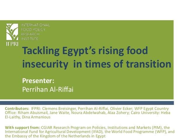 Tackling Egypt's rising foodinsecurity in times of transitionContributors: IFPRI: Clemens Breisinger, Perrihan Al-Riffai, ...