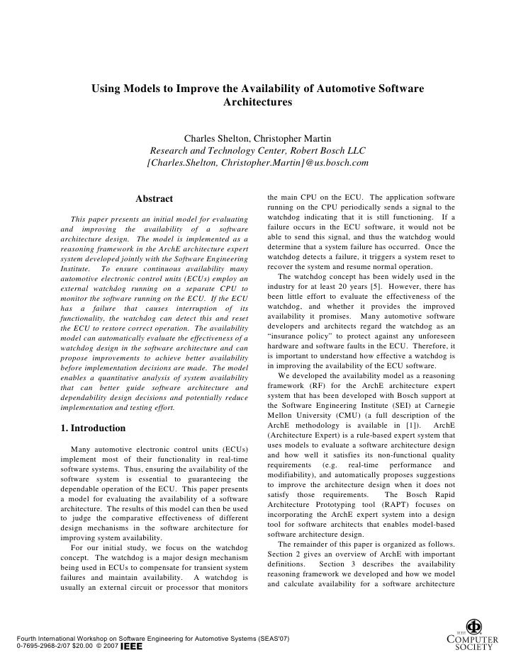 Using Models to Improve the Availability of Automotive Software                                                Architectur...