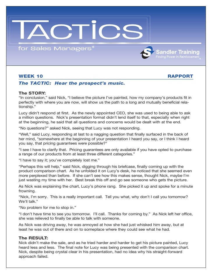 WEEK 10                                                                             RAPPORT The TACTIC: Hear the prospect'...