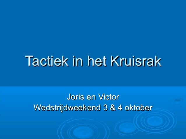 Tactiek in het KruisrakTactiek in het Kruisrak Joris en VictorJoris en Victor Wedstrijdweekend 3 & 4 oktoberWedstrijdweeke...