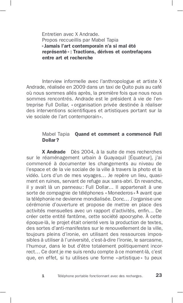 23 Entretien avec X Andrade. Propos reccueillis par Mabel Tapia «Jamais l'art contemporain n'a si mal été représenté»: Tra...