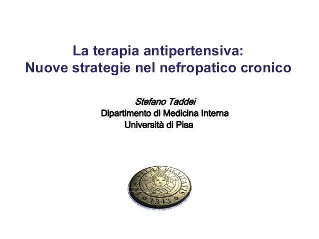 La terapia antipertensiva: Nuove strategie nel nefropatico cronico Stefano Taddei Dipartimento di Medicina Interna Univers...