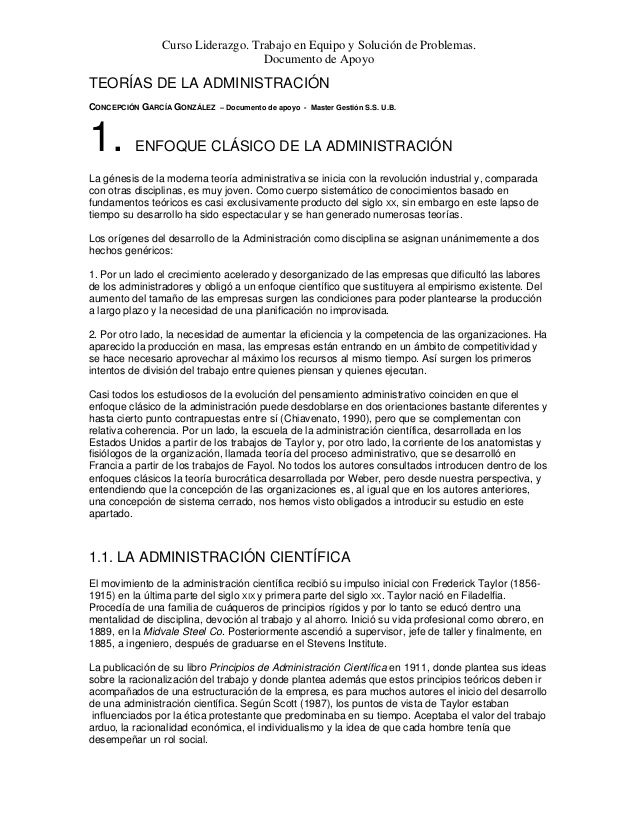 Curso Liderazgo. Trabajo en Equipo y Solución de Problemas. Documento de Apoyo TEORÍAS DE LA ADMINISTRACIÓN CONCEPCIÓN GAR...