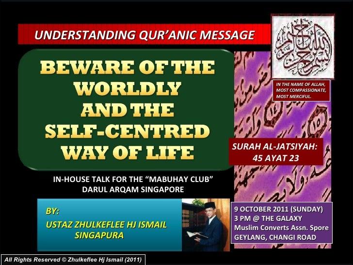 Tadzkirah oct 2011-beware of the desire and worldly
