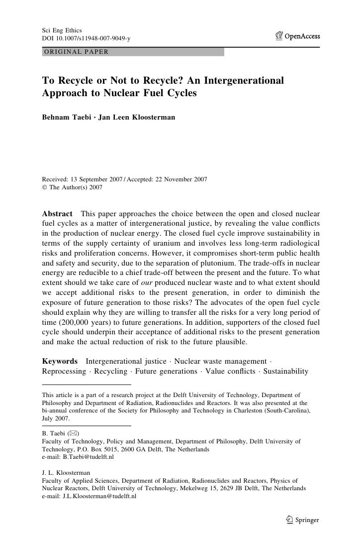 Sci Eng EthicsDOI 10.1007/s11948-007-9049-yORIGINAL PAPERTo Recycle or Not to Recycle? An IntergenerationalApproach to Nuc...