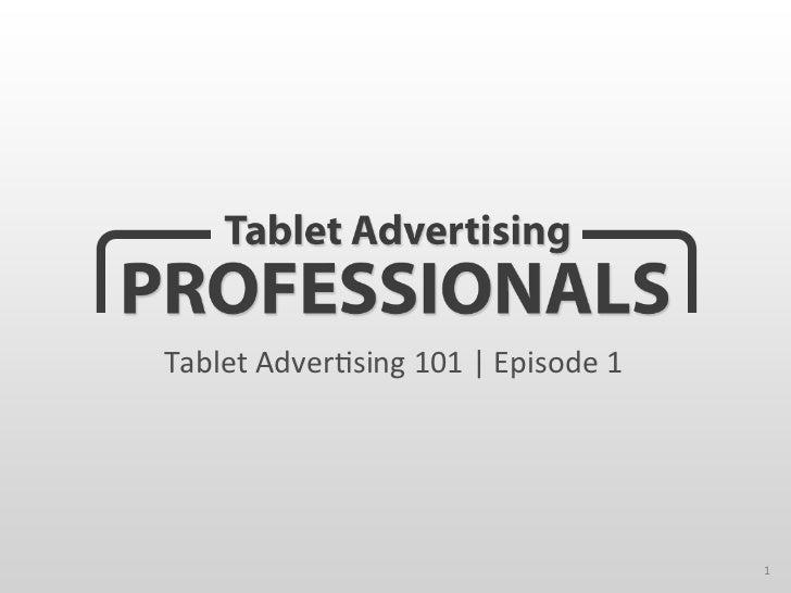 Tablet Advertising 101   Tablet Advertising Professionals