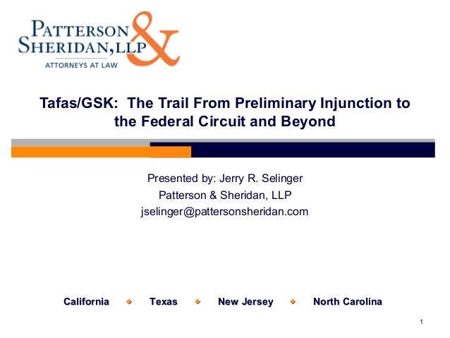 Tafas / GSK-The Trail from Preliminary Injunction to the Federal Circuit and Beyond AIPLA Spring 2009