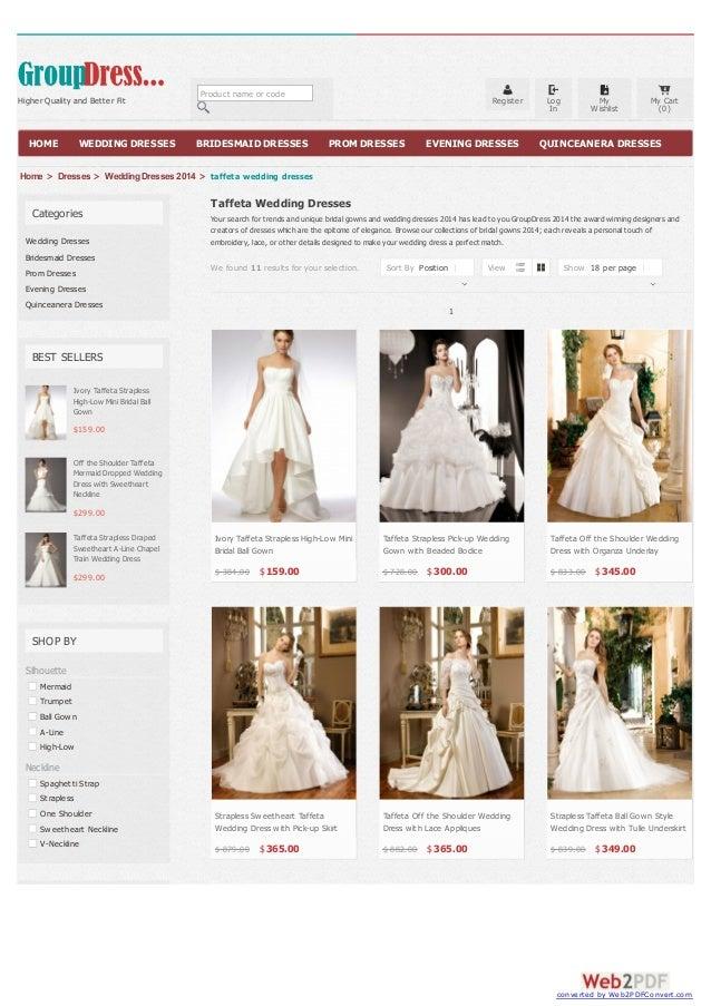 Taffeta Wedding Dresses at Dressplaza.com