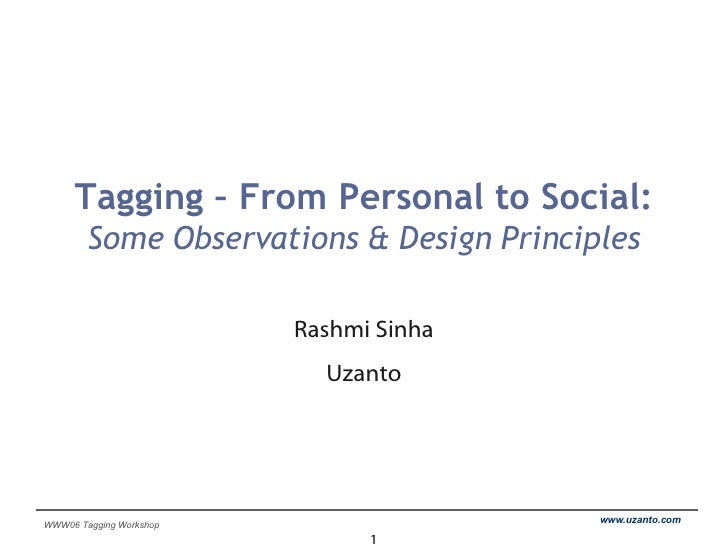 Tagging – From Personal to Social: Some Observations & Design Principles Rashmi Sinha Uzanto