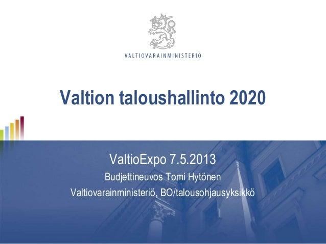 Tomi Hytönen: Valtion taloushallinto 2020