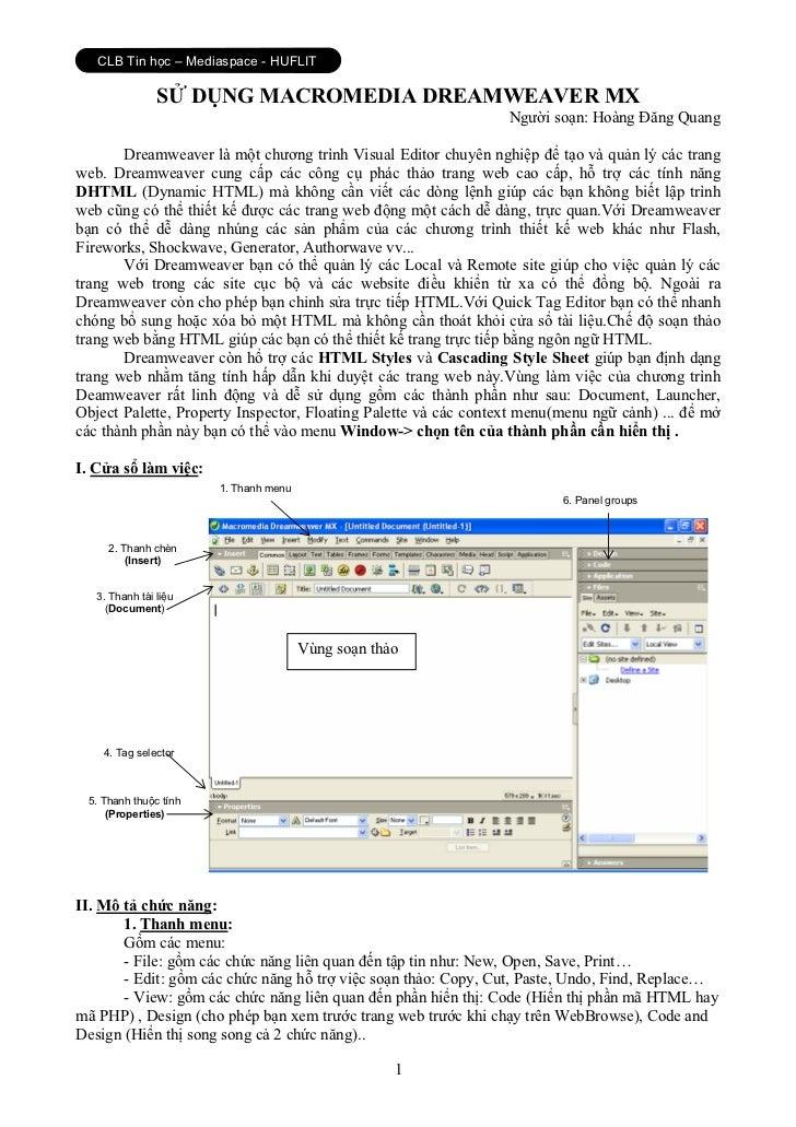 CLB Tin học – Mediaspace - HUFLIT                SỬ DỤNG MACROMEDIA DREAMWEAVER MX                                        ...