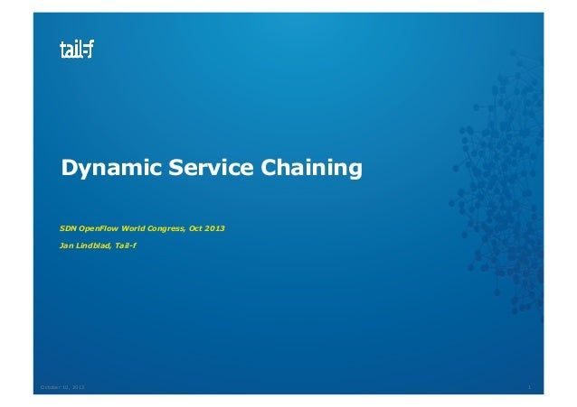 Dynamic Service Chaining SDN OpenFlow World Congress, Oct 2013 Jan Lindblad, Tail-f  October 10, 2013  1