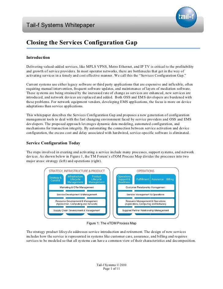 Tail-f Systems Whitepaper - Configuration Management and Service Provisioning