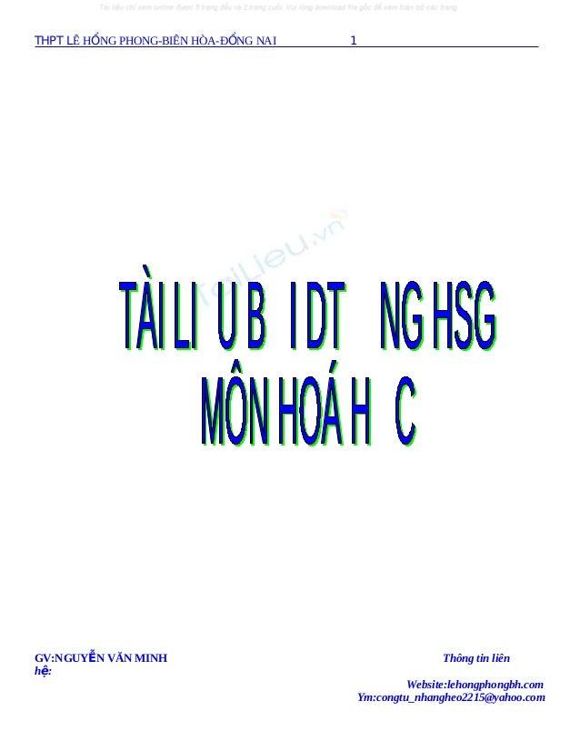 THPT LÊ HỒNG PHONG-BIÊN HÒA-ĐỒNG NAI  GV:NGUYỄN VĂN MINH hệ:  1  Thông tin liên Website:lehongphongbh.com Ym:congtu_nhangh...