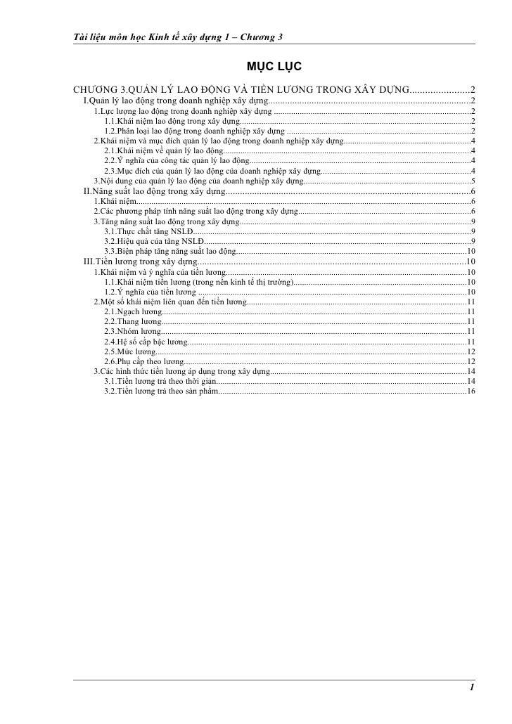 Tài liệu môn học Kinh tế xây dựng 1 – Chương 3                                                                       MỤC L...