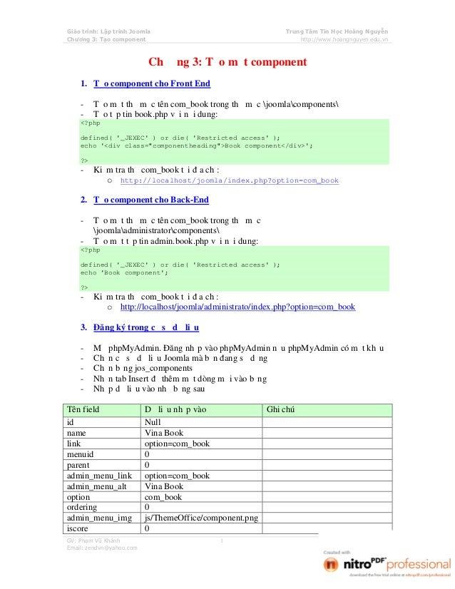 Giáo trình: Lập trình Joomla                               Trung Tâm Tin Học Hoàng NguyễnChương 3: Tạo component          ...