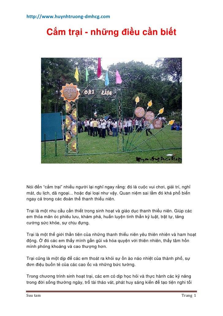 """http://www.huynhtruong-dmhcg.com             Cắm trại - những điều cần biết     Nói đến """"cắm trại"""" nhiều người lại nghĩ ng..."""