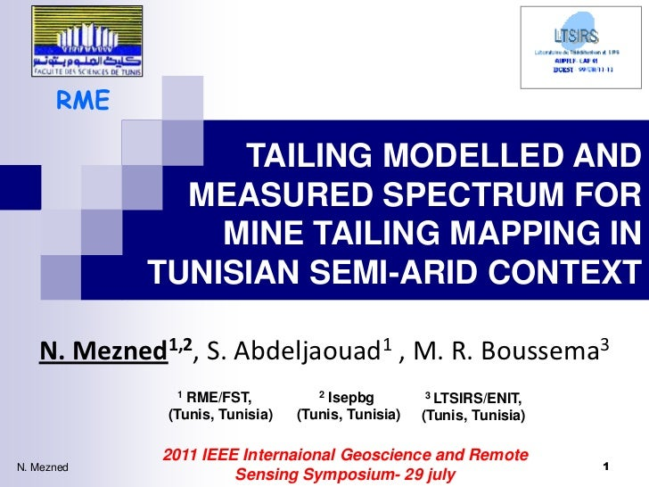TAILING MODELLED AND MEASURED SPECTRUM FOR MINE TAILING MAPPING IN TUNISIAN SEMI-ARID CONTEXT.pptx