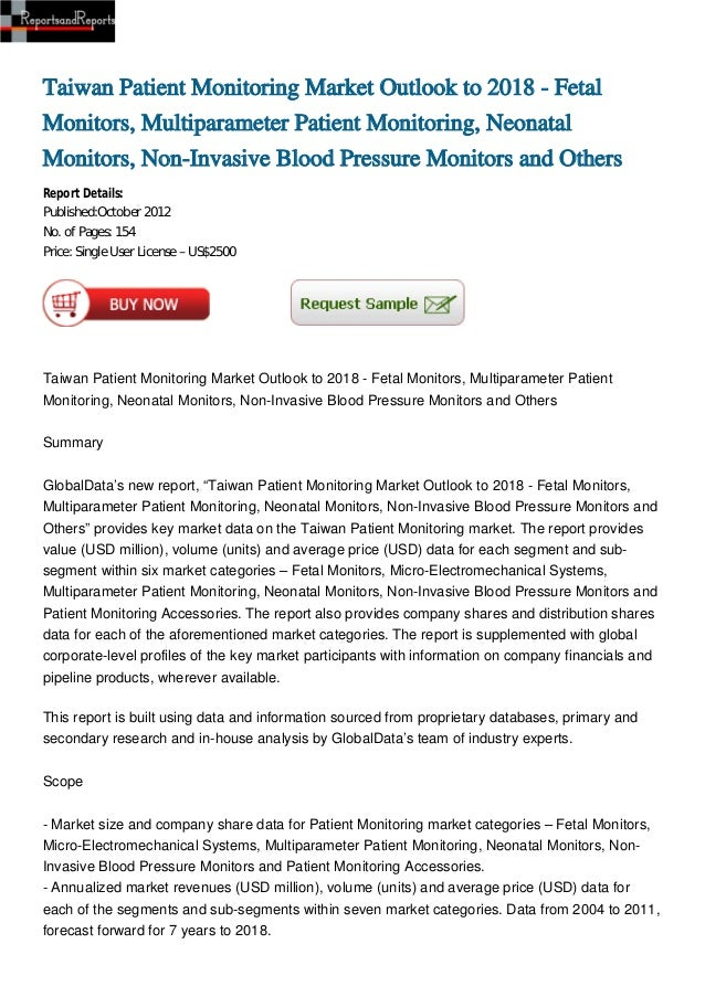 Taiwan Patient Monitoring Market Outlook to 2018 - Fetal Monitors, Multiparameter Patient Monitoring, Neonatal Monitors, Non-Invasive Blood Pressure Monitors and Others