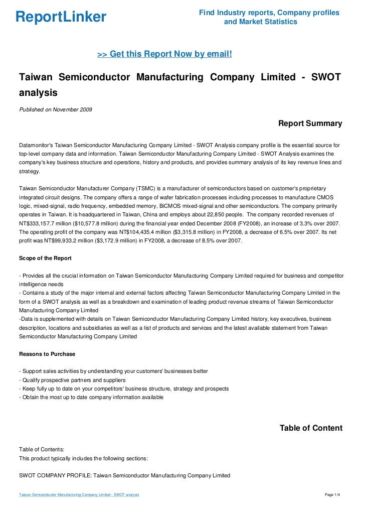 Taiwan Semiconductor Manufacturing Company Limited Swot