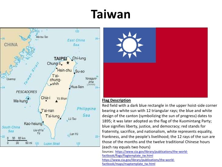 Taiwan<br />Flag Description<br />Red field with a dark blue rectangle in the upper hoist-side corner bearing a white sun ...