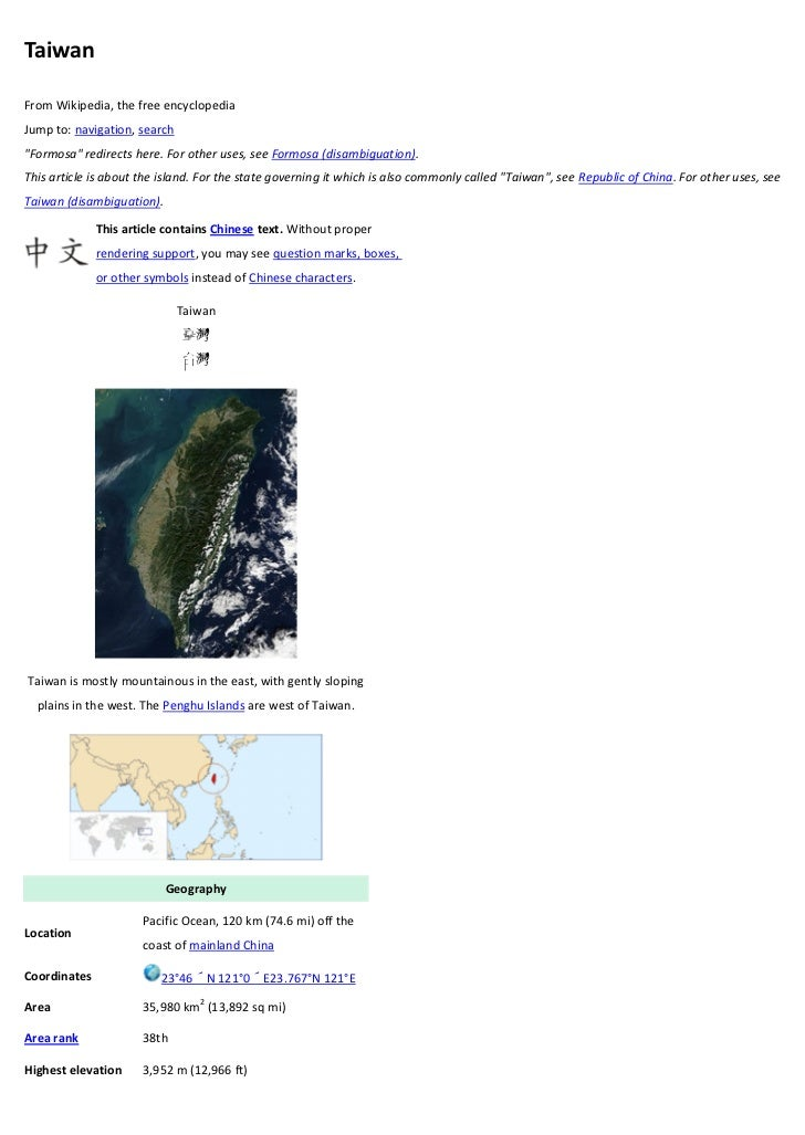 """TaiwanFrom Wikipedia, the free encyclopediaJump to: navigation, search""""Formosa"""" redirects here. For other uses, see Formos..."""