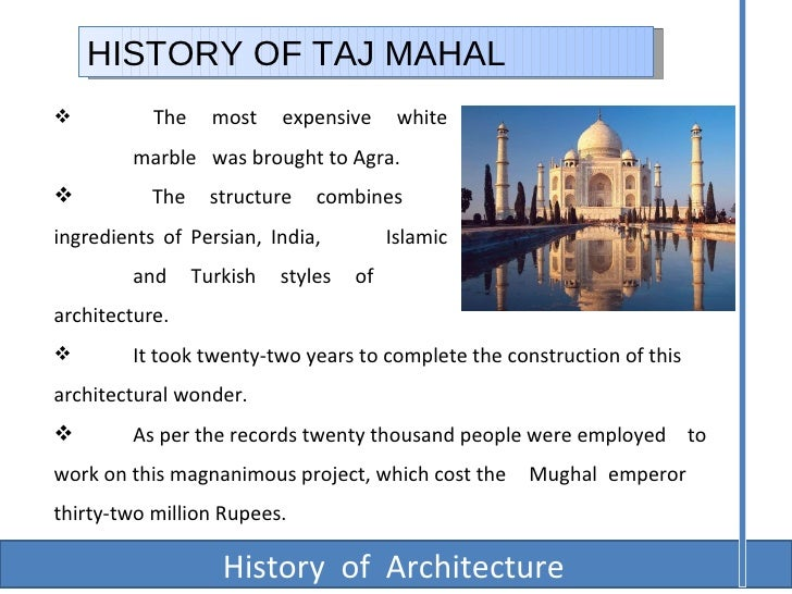 information of taj mahal in english