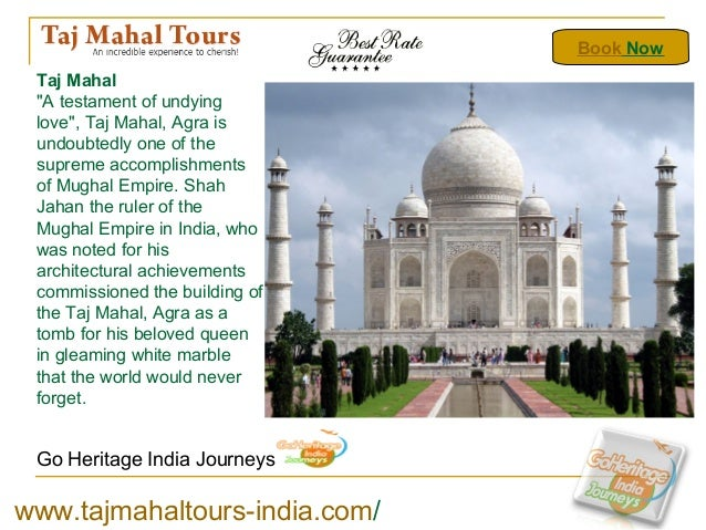 """Go Heritage India Journeys Taj Mahal """"A testament of undying love"""", Taj Mahal, Agra is undoubtedly one of the supreme acco..."""