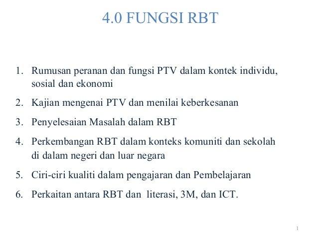 1 4.0 FUNGSI RBT 1. Rumusan peranan dan fungsi PTV dalam kontek individu, sosial dan ekonomi 2. Kajian mengenai PTV dan me...
