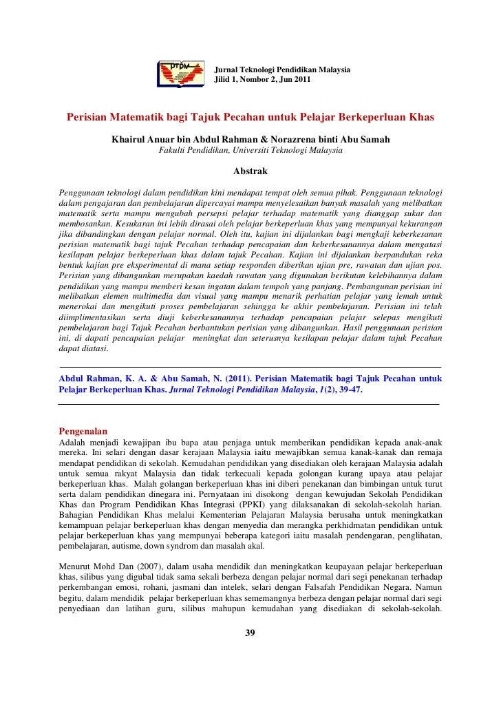 Jurnal Teknologi Pendidikan Malaysia                                         Jilid 1, Nombor 2, Jun 2011  Perisian Matemat...