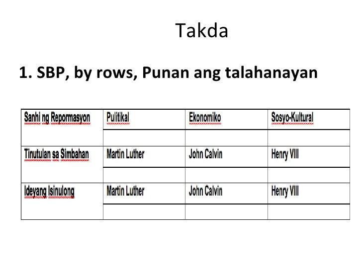 Takda <ul><li>1. SBP, by rows, Punan ang talahanayan </li></ul>