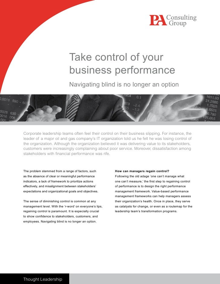 Take control of your                                   business performance                                   Navigating b...