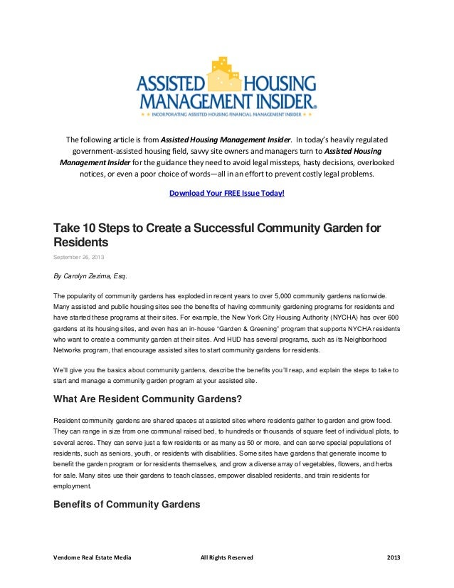 10 Steps to Creating a Successful Community Garden for Residents