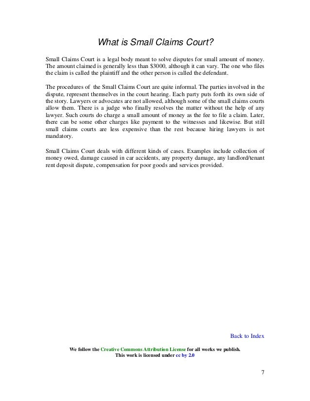 Small claims court essay