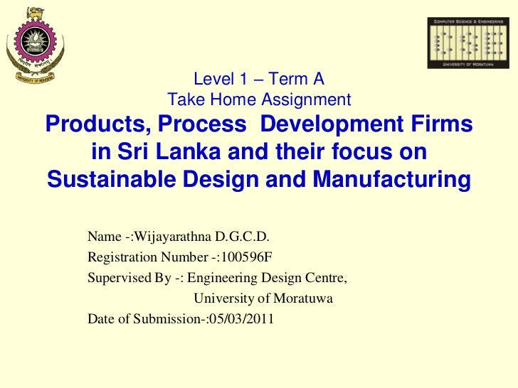 Products, Process  Development Firms in Sri Lanka and their focus on Sustainable Design and Manufacturing