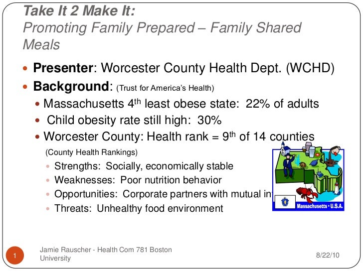 Take It 2 Make It:Promoting Family Prepared – Family Shared Meals<br />Presenter: Worcester County Health Dept. (WCHD)<br ...