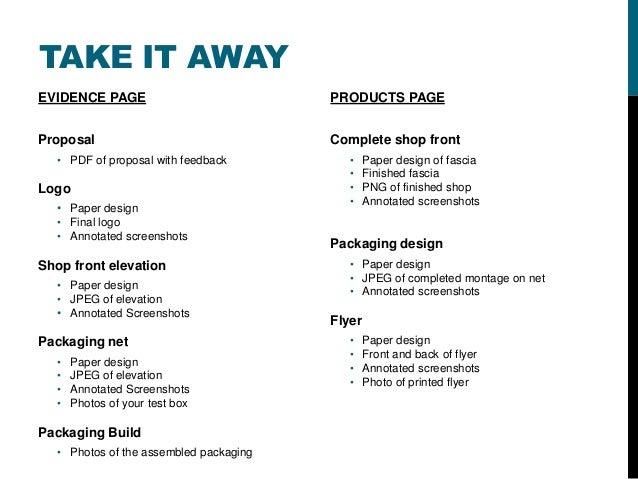 TAKE IT AWAYEVIDENCE PAGEProposal• PDF of proposal with feedbackLogo• Paper design• Final logo• Annotated screenshotsShop ...
